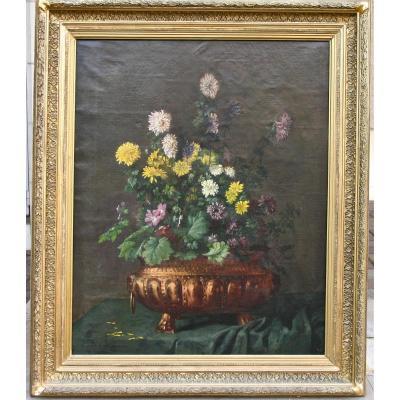 """Huile Sur Toile """"bouquet De Fleurs"""" De Gaston De LAPERRIERE"""
