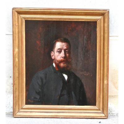 Portrait d'Homme Sur Panneau XIXème