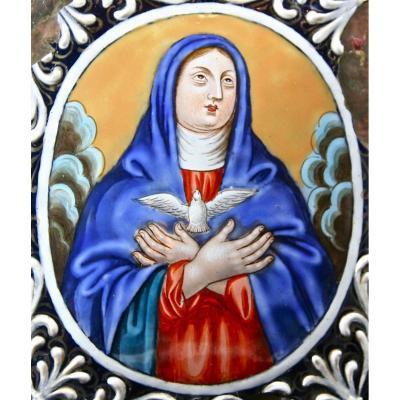 Vierge XVIIème En émail De Limoges