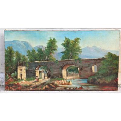 """Oil On Canvas XIX """"landscape For Women Under The Bridge"""" By E. Joly"""