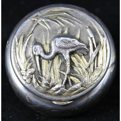Powder Box Art Nouveau Silver & Vermeil