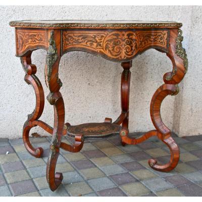 Table Guéridon Napoléon III XIXème En Marqueterie Et Bronze Doré