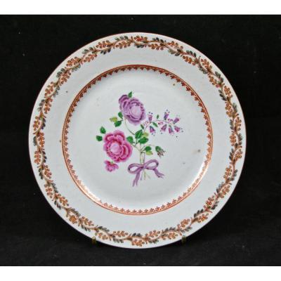 Paire d'Assiettes Porcelaine XVIIIème En Compagnie Des Indes