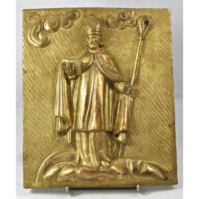 Panneau XVIIème En Bois Doré Représentant Un évêque