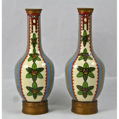 Paire De Vases En Porcelaine De Sèvres à Montures Bronze De Paul Milet