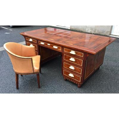 Office box in mahogany and its art deco chair