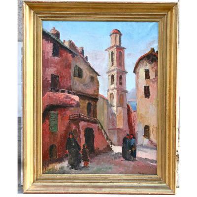 """Huile Sur Toile """"village de Montemaggiore"""" De Richard"""