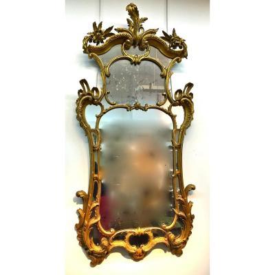Grand Miroir Anglais XVIIIème En Bois Doré