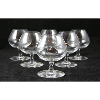 Set Of Six Glasses Cognac Baccarat Crystal