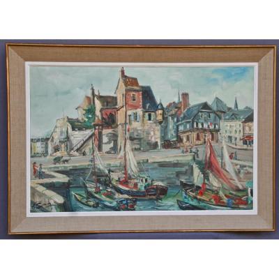 """Peinture Milieu XXème """"le Port De Honfleur"""""""