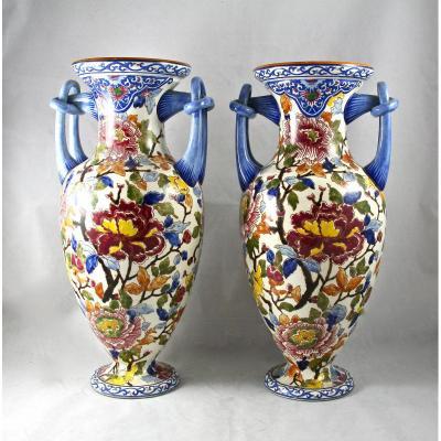 Paire De Vases XXème En Faience De Gien