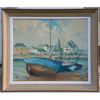 """Peinture """"le Croisic"""" d'Henri Biard"""