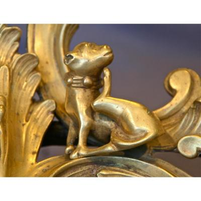 Paire de chenets XVIIIème en bronze doré
