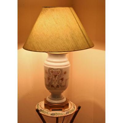 Lampe XIXème en opaline à monture de bronze