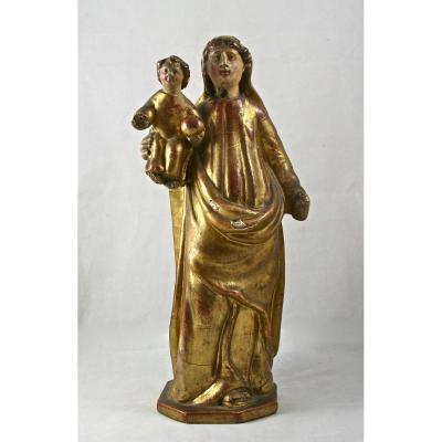 Vierge à l'enfant XVIIIème en bois doré