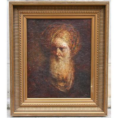 """Peinture début XXème """"Homme barbu au turban"""""""