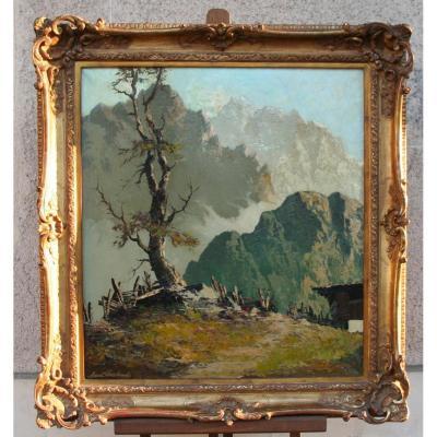 """Huile sur toile """"Paysage de montagne"""" d'Arnoh Fraboue"""