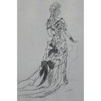 """Dessin """"Jeune femme en tenue de soirée"""" de Charles Kiffer"""