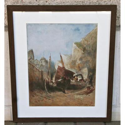 """Aquarelle """"calfatage Des Navires """" d'Eugène Deshayes"""