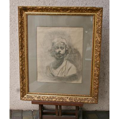 """Dessin XIXème Encadré """"buste De Jeune Enfant"""""""