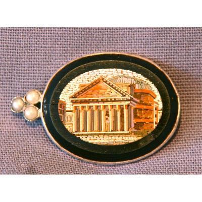 Broche XIXème En Micro Mosaïque Et Perles Monture Argent