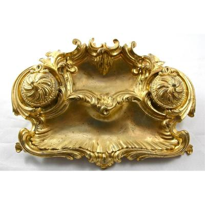 Encrier Rocaille XIXème En Bronze Doré