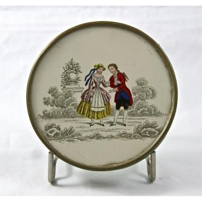 boite bonbonnière fixé sous verre XIXème
