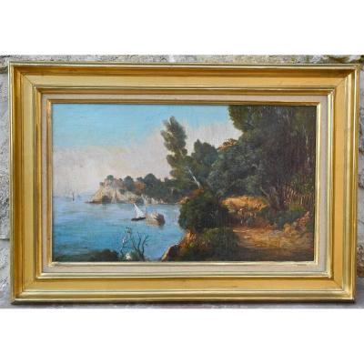 "Peinture XIXème ""paysage De Bord De Mer"" De Félix Jourdan"