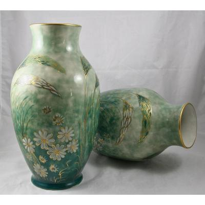 Pair Of Limoges Porcelain Vases From Tharaud