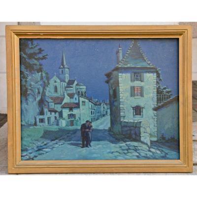 """Peinture XXème """"nocturne à Montmorillon"""" Par H. Lejeune"""