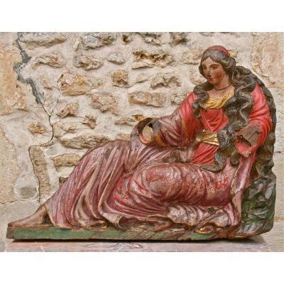 Très Grande Marie-Madeleine En Bois Polychrome d'époque XVIIème