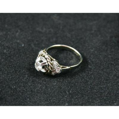 Bague XIXème En Or Gris Et Diamants