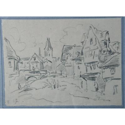"""Dessin XIXème """"village Normand"""" d'Eugène Isabey"""