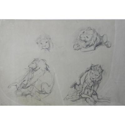 """Dessin De Victor Prouvé """"lion Dévorant Une Antillope"""""""