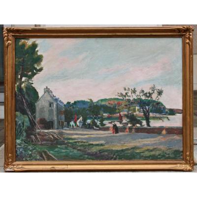 """Peinture XXème, """"le Port De Belon"""" Par Paul Ferrandoux"""
