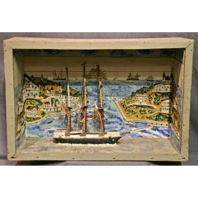 Diorama De Bateau Populaire d'époque XIXème