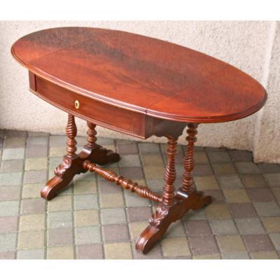 Table Bureau à Volets En Acajou, Anglais XIXème