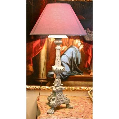 Lampe Pique-Cierge XVIIIème En Bois Rechampi
