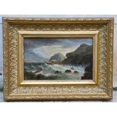 """Peinture Marine Sur Panneau XIXème """"bateaux Dans La Tempête"""""""