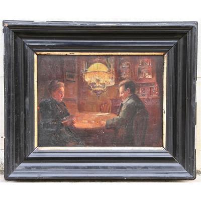 Peinture XIXème Scène d'Intérieur, Le Jeux