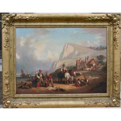 """Peinture XIXème """"retour De Pêche En Normandie"""""""