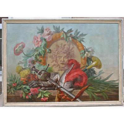 Peinture XVIIIème Faune Aux Attributs Militaires