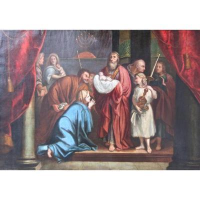 """Peinture XVIIIème """"présentation De Jesus Au Temple"""" Par Claude Arnulphi"""