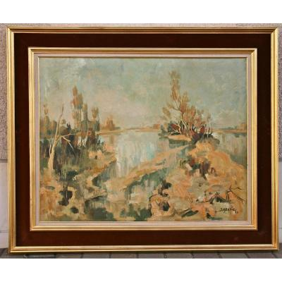 """Peinture XXème """"la Loire En Automne"""" De Jean Abadie"""