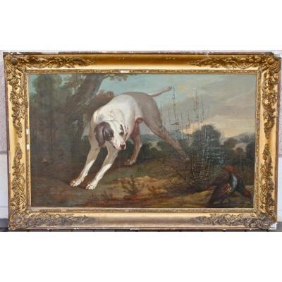 """Peinture XVIIIème """" Chien à l'Arrêt"""" Attribué à J.b. Oudry"""