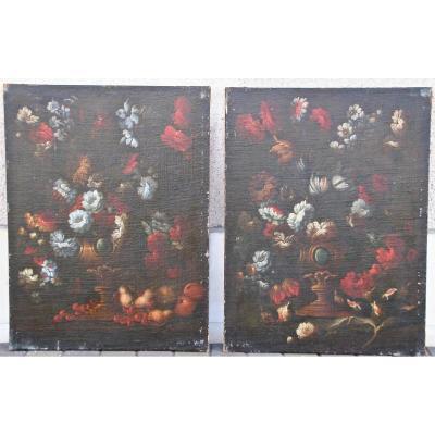 """Paire De Peinture XVIIème """"natures Mortes Aux Bouquets De Fleurs"""""""