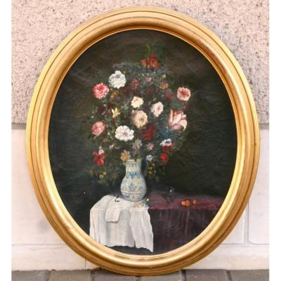 """Peinture Ovale XIXème """"bouquet De Fleurs Dans Un Vase En Faïence"""""""