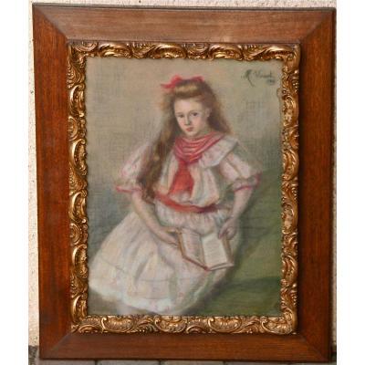 """Pastel """"portrait d'Une Jeune Fille Assise"""" Par M. Vinsot 1906"""