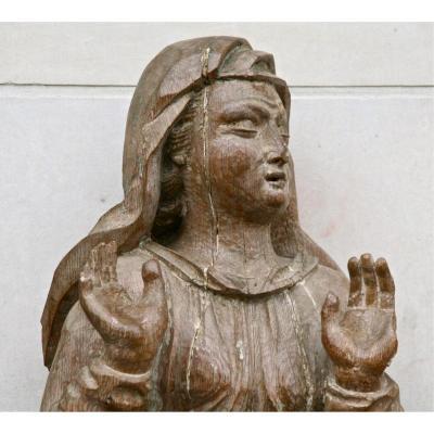 Grande Vierge En Chêne Sculptée Début XVIIIème