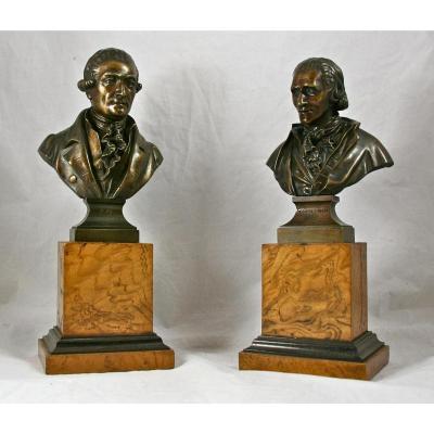 """Paire De Bustes En Bronze """" Dante Et Charbonnet"""" d'Après Vasse"""